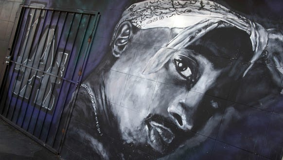 A wall dedicated to the memory of Shakur is seen on
