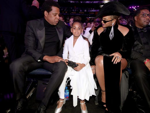 Jay-Z and Beyonce's first child is named Blue Ivy.