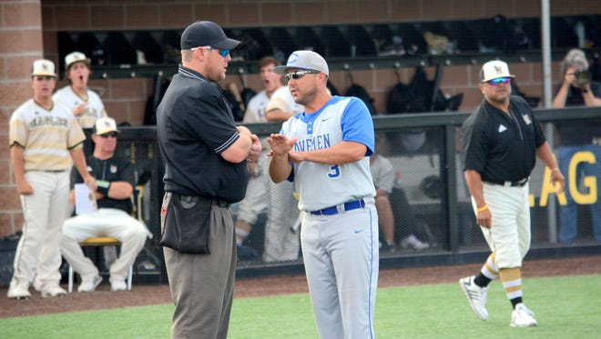 Carlsbad coach Cody May, seen here in a district game April 28 at Hobbs, stepped down after six seasons at the helm.