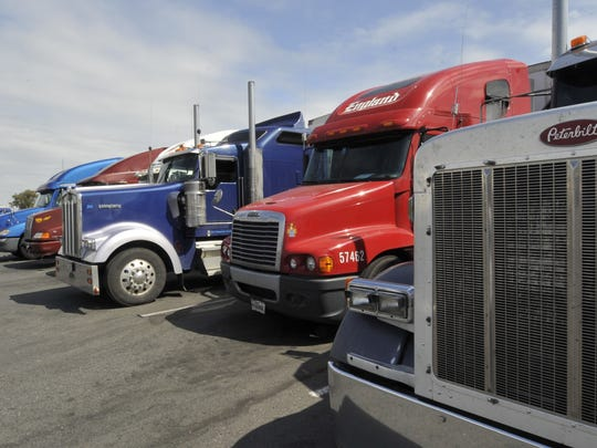 Trucks parked at Love's Travel Stop in Tulare.