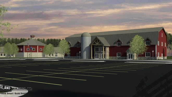 An artist's rendering shows the preliminary design for the proposed Wisconsin Agricultural Education Center in Newton.