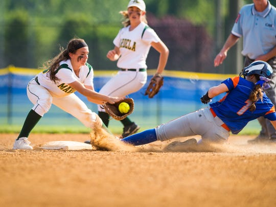 Mardela shortstop Sydney Goertzen (13) is late on the