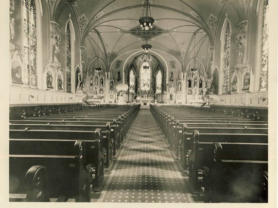 The interior of St. Martin of Tours Catholic Church, 639 S. Shelby St., is shown in 1922.