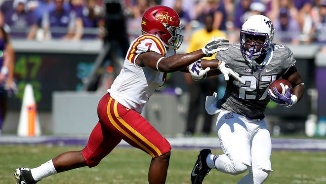 TCU running back Derrick Green (27) rushes against Iowa State on Sept. 17, 2016, in Fort Worth, Texas.