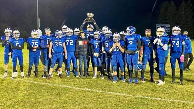 Brimley defeated Engadine 42-30 Friday night to win the annual Weather Bowl game. The Bays beat Engadine for the first time since 2004.