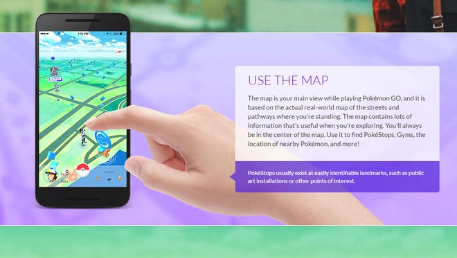"""The """"Pokemon Go"""" website explains how to use the map to find points of interest."""