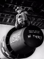"Major Kong (Slim Pickens) gets ready to drop the big one in Stanley Kubrick's ""Dr. Strangelove, Or: How I Learned to Stop Worrying and Love the Bomb."""