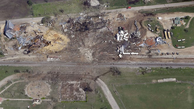 This April 18, 2013, aerial photo shows a destroyed fertilizer plant following an explosion in West, Texas.