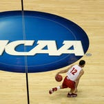 Sioux Falls has bid for the first-round games of the NCAA Division I men's basketball tournament. Here, the NCAA logo is shown on a court in 2014.