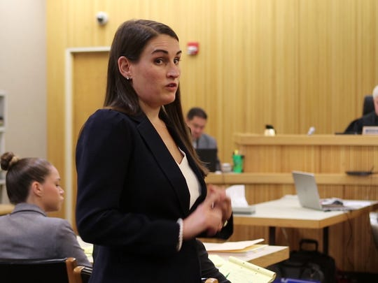 Stephanie Dugan, assistant Monmouth County prosecutor, gives her opening statement during the trial of Brookdale honors student Raquel Garajau before Superior Court Judge Joseph W. Oxley at the Monmouth County Courthouse in Freehold, NJ Tuesday July 24, 2018.  She is on trial for the murder of pot dealer Trupal Patel.