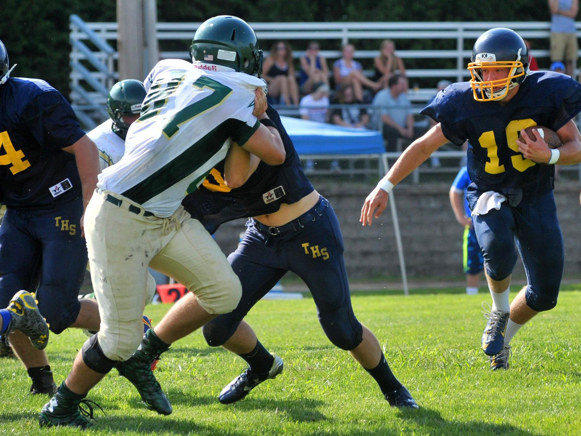 Tomahawk vs. Wittenberg-Birnamwood on scrimmage Friday afternoon at Athens High School football field.