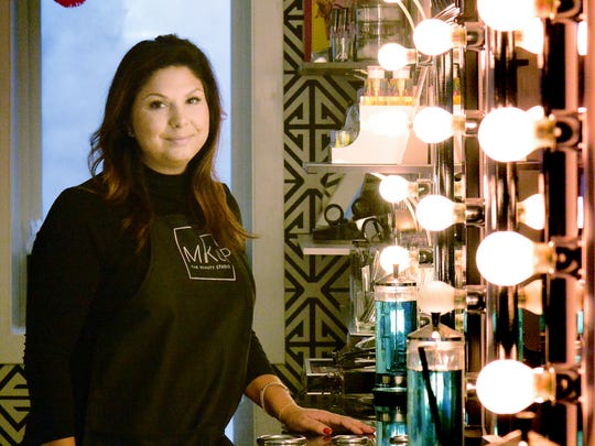 Maggie King, owner of MKUP: The Beauty Studio, in her studio in York City Thursday, Nov. 2, 2017. A year ago she moved the beauty business to its current Royal Square location. Bill Kalina photo