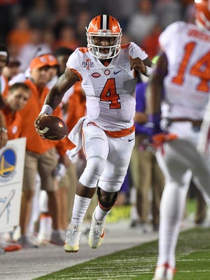 Clemson quarterback Deshaun Watson (4) during the 4th quarter at Boston College's Alumni Stadium in Chestnut Hill, MA on Friday, October 7, 2016.