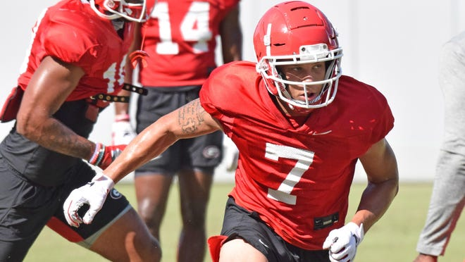 Georgia wide receiver Jermaine Burton (7) during the Bulldogs' practice in Athens on Thursday, Sept. 3.