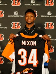 The Cincinnati Bengals introduce second-round pick running back Joe Mixon, Saturday, April 29, 2017, at Paul Brown Stadium in Cincinnati.