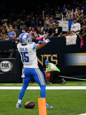 Lions receiver Golden Tate celebrates his touchdown in the first half against the Saints in New Orleans, Sunday, Oct. 15, 2017.