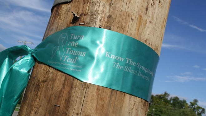 Teal ribbons are part of a national campaign to raise awareness of ovarian cancer.