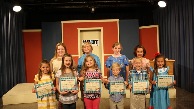 WLJT received 176 entries for this year's writing contest from students across West Tennessee. Winners chosen were, from left (back row): Ryleigh Johnson of South Fulton, fourth grade; Fisher Lawrence of Paris, fifth grade; Casey Thornton of Brownsville, fifth grade; Julianne Woods of Camden, second grade; (front row) Larkin Meyers of Jackson, kindergarten; Aubrey Jones of Dyersburg, fourth grade; Lauren Whitefield of Dyersburg, second grade; Ethan Carden of Dresden, kindergarten; Ian Painter of Huntingdon, first grade; and Analeese Arnold of Greenfield, first grade. Not pictured are third grade, first-place winner Morgan Little of McKenzie with 'The Traveling Birds' and third grade, second-place winner Jayden Alexis Johnson of Lexington with 'The Queen That Was Too Nice.'