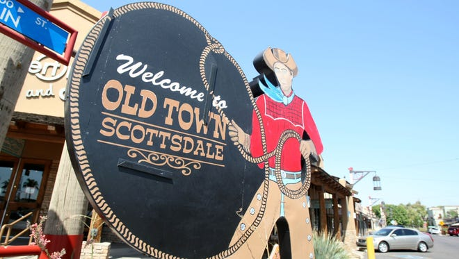 Head to the entrance of Main Street in downtown Scottsdale, on the east side of Scottsdale Road, and you'll see this famous sign welcoming tenderfoots from around the world to Old Town Scottsdale.