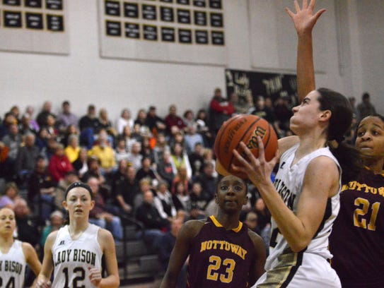 Buffalo Gap's Leah Calhoun goes for a layup during