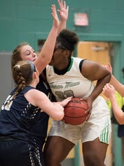 Fort Myers' Chaniya Clark works in the paint  in the Green Wave's 53-48 win over  Newtown (Pa.) Council Rock North Thursday in the Naples Holiday Shootout.