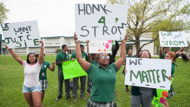 Camden Catholic students rally in front of Camden Catholic High School in Cherry Hill on Friday, May 4, 2018, in support of former football coach Nick Strom who was fired Monday after allegations of racial issues.