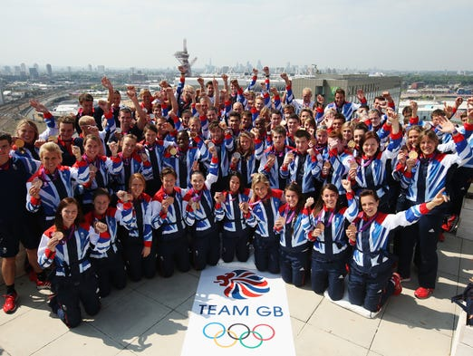 Team Great Britain. Pictured here in 2012, the Olympic team is made up of athletes from Scotland, Wales, Northern Ireland and England.