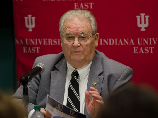 Local lawmaker Dick Hamm (IN-54) responds to a question during a legislative forum at Indiana University East's Springwood Hall on Friday, Feb. 24, 2017.