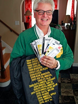 """Jeff Roznowski is attempting to attend all 16 Packers regular season games this season, and he has just two to go. The Wauwatosa man holds tickets for the games along with his Packers jacket that lists all the away games he has attended since 1994. For 2016, it simply says """"All of 'em."""""""