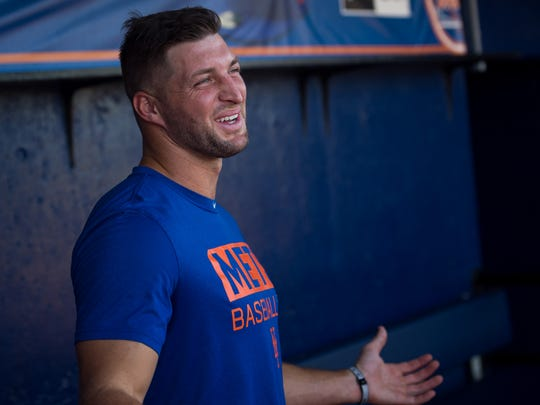 St. Lucie Mets player Tim Tebow, former NFL quarterback and Heisman Trophy winner, talks about his season and future plans during his final media availability for the 2017 season Thursday, Aug. 31, 2017, in the home dugout at First Data Field in Port St. Lucie.