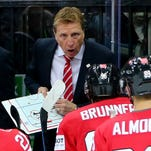 Glen Hanlon, head coach of Switzerland, gives instructions at the IIHF World Championship on May 2, 2015, in Prague, Czech Republic.