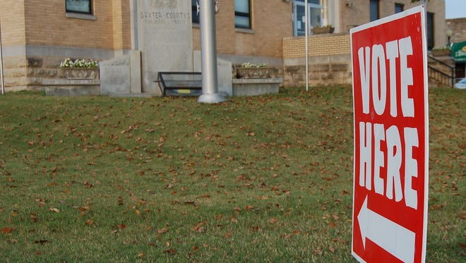 A 'Vote Here' sign points the way to the Baxter County Courthouse in this Baxter Bulletin file photo. Filing for some 2020 elected positions begins today and continues through next Tuesday.