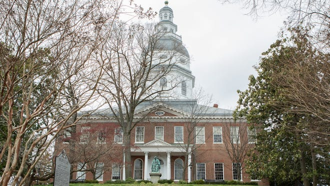 An external view of the Maryland Statehouse in Annapolis on Monday, April 3, 2017.