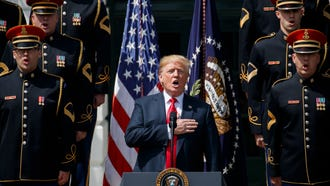 President Donald Trump sings the National Anthem during his Celebrate America event at the White House.