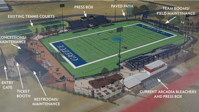 A rendering of the proposed shared athletic stadium for the Greece Central School District.