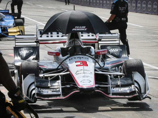Helio Castroneves, who drives the No. 3 Hitachi Team