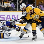 The Predators will play the Blues on Thursday for the first time since a 4-0 loss at Bridgestone Arena on Nov. 7.