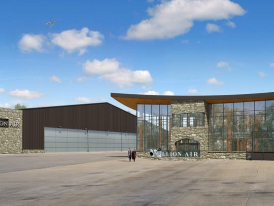 A rendering of the new Million Air terminal and hangar