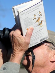 Ken Merideth, of Ventura, counts the birds at Lake