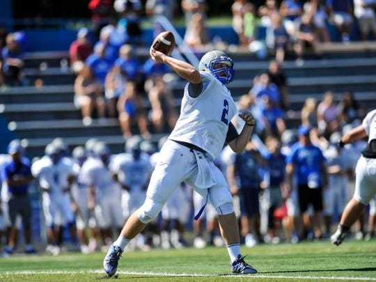 Sayreville quarterback Jayson DeMild throws a pass during a scrimmage against Carteret on Aug. 23, 2016.