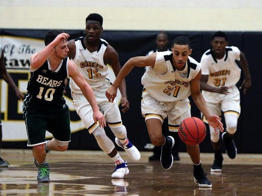 Piscataway's Mattias Arrindell (21) drives up court