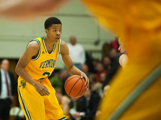 Catamounts guard Trae Bell-Haynes (2) looks to pass the ball during a men's basketball game earlier this season.