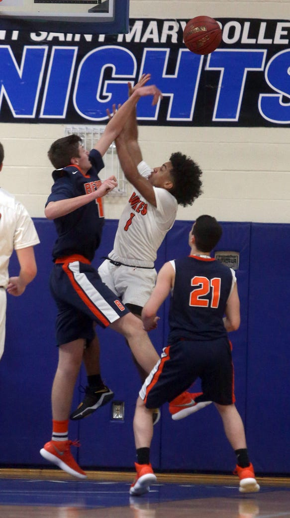 Spencer McCann of Briarcliff blocks a shot by Jaiden