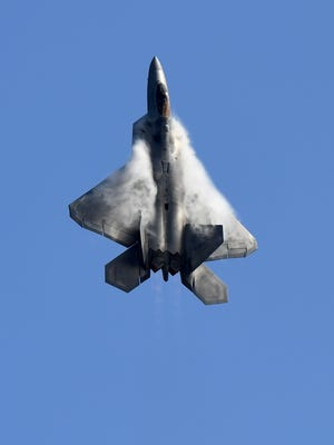 A US Air Force F-22 Raptor flies during the Australian International Airshow.