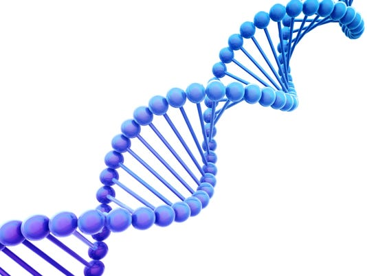 Diagonal Blue DNA Helix on White