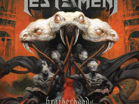 "Testament's album cover ""Brotherhood of the Snake."""