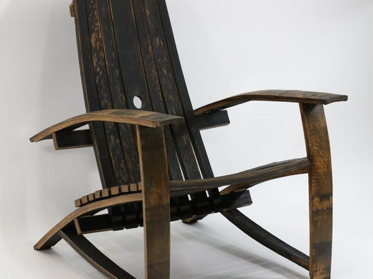 Darrel and Robbie Lambert make chairs from old whiskey