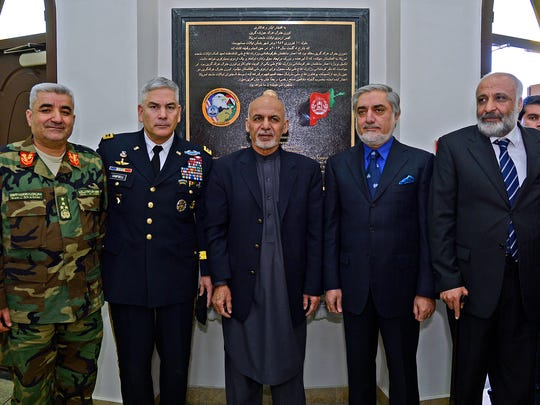 Gen. John Campbell, second from left, with Afghan President