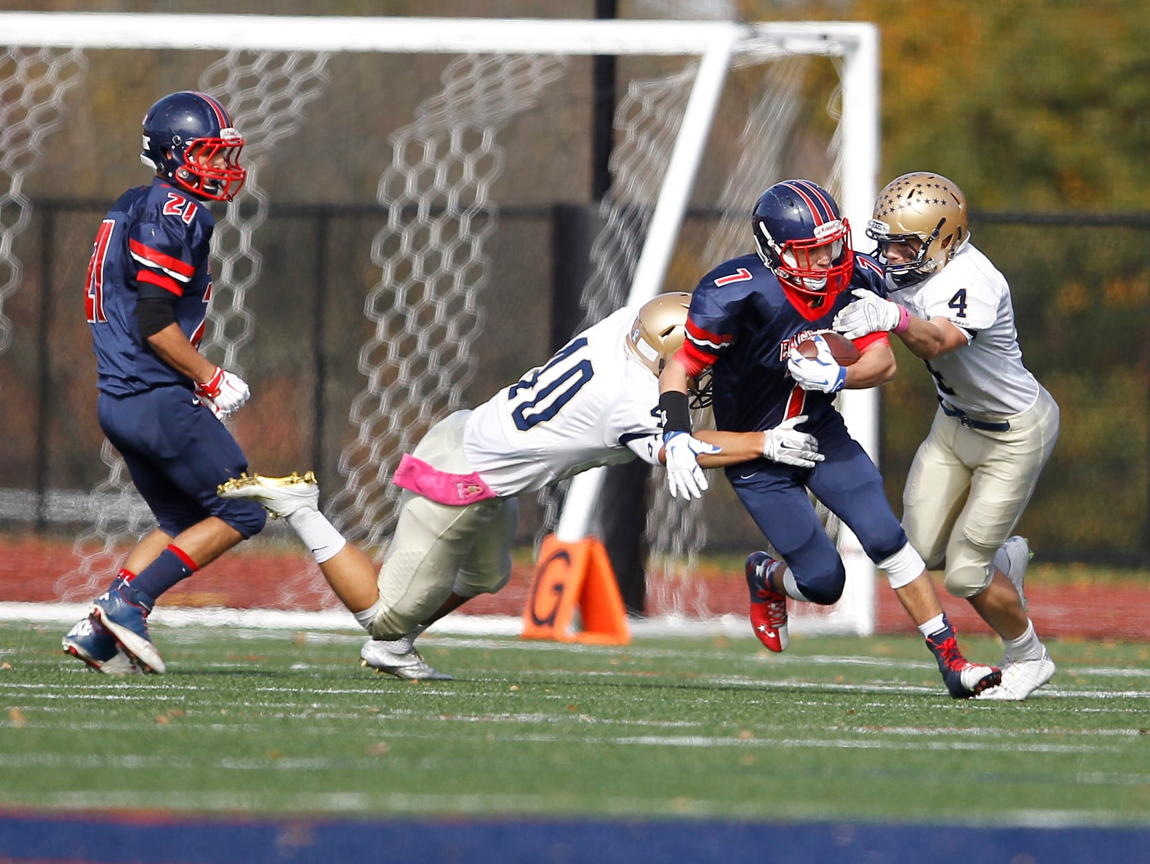 Eastchester falls to Our Lady of Lourdes High School in the class A semi-final football game in Eastchester on Saturday, Oct. 31, 2015.