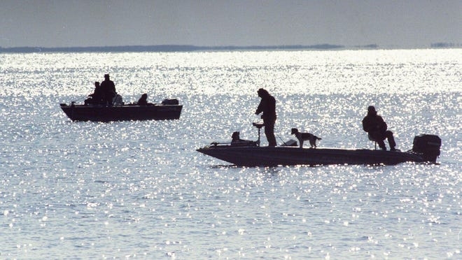 Times photo Anglers float across Mille Lacs Lake on a previous opening day of walleye season.
